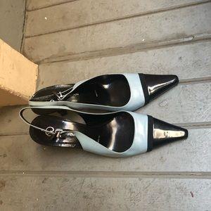 St. John square toe two tone color slingback heels